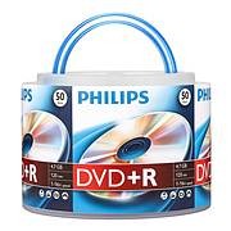 飞利浦乖乖桶系列16速4.7G DVD+R光盘/刻录盘桶装50片(桶)