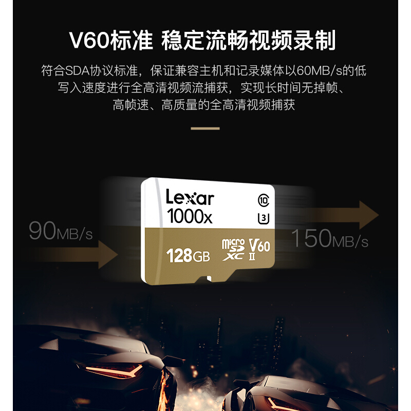 雷克沙(Lexar)TF卡 高速内存卡 1000x 读速150M  4K 128GB 标配读卡器(个)