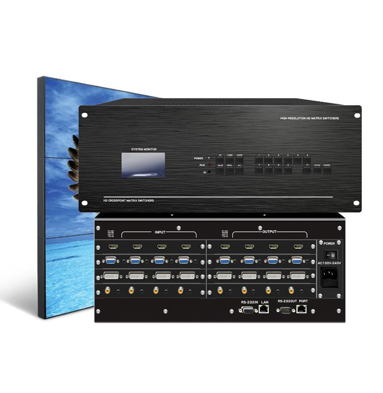 SKYKEEPER 高端混合矩阵 HDMI/DVI/VGA/AV会议矩阵带音频分离 16进8出混合矩阵