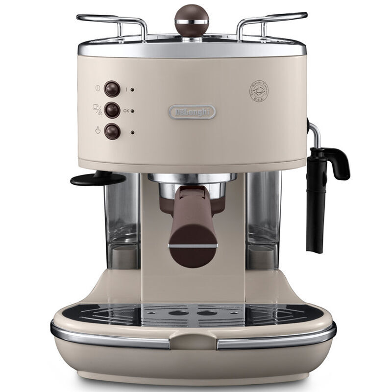 德龙(Delonghi)ECO310.W 复古泵压式不锈钢锅炉 意式半自动咖啡机(台)奶油白