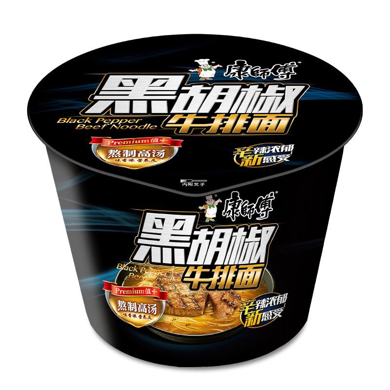 康师傅 高汤系列黑胡椒牛排桶面 113g*12桶/箱 (单位:箱)