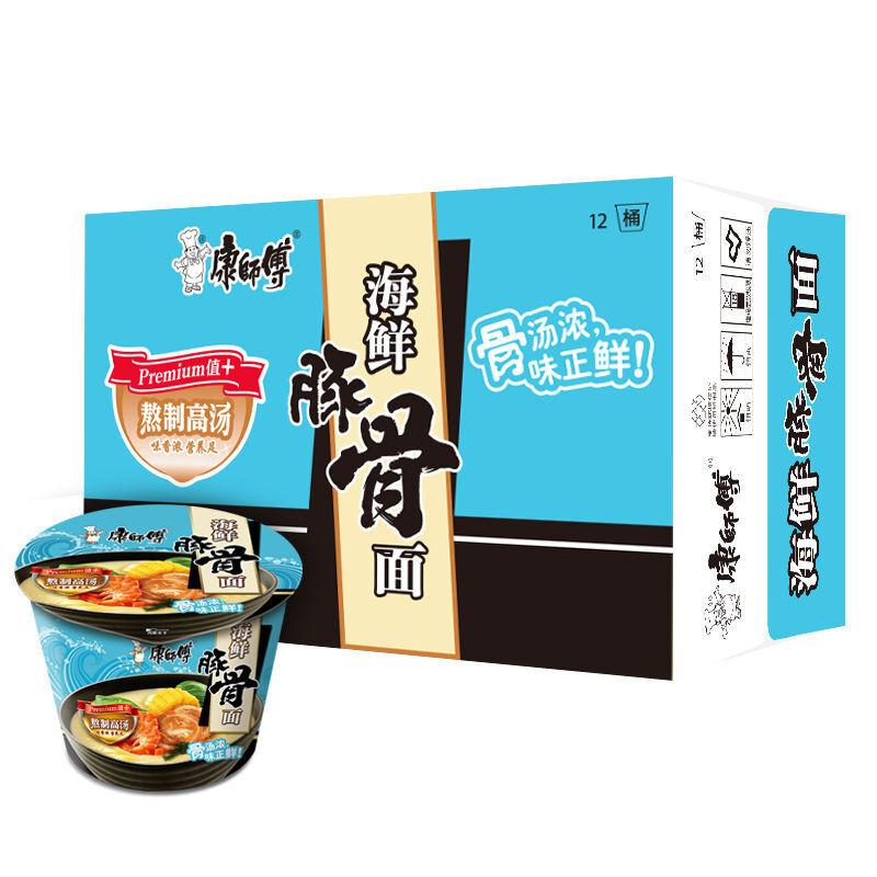 康师傅 高汤系列海鲜豚骨桶面 116g*12桶/箱 (单位:箱)