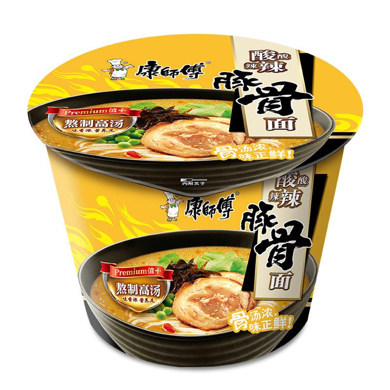 康师傅 高汤系列酸酸辣辣豚骨桶面 110g*12桶/箱 (单位:箱)