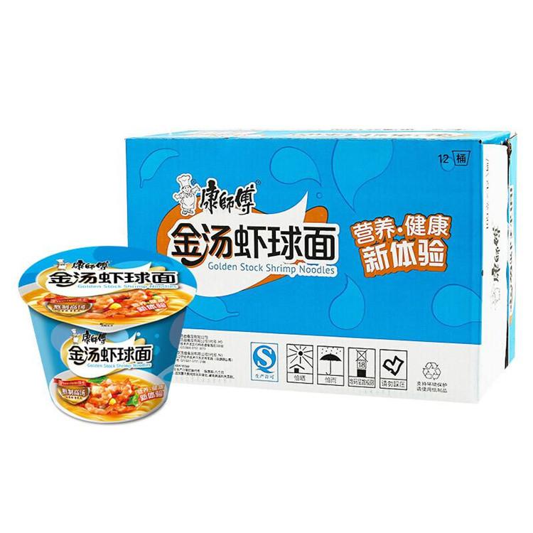 康师傅 高汤系列金汤虾球桶面 109g*12桶/箱 (单位:箱)