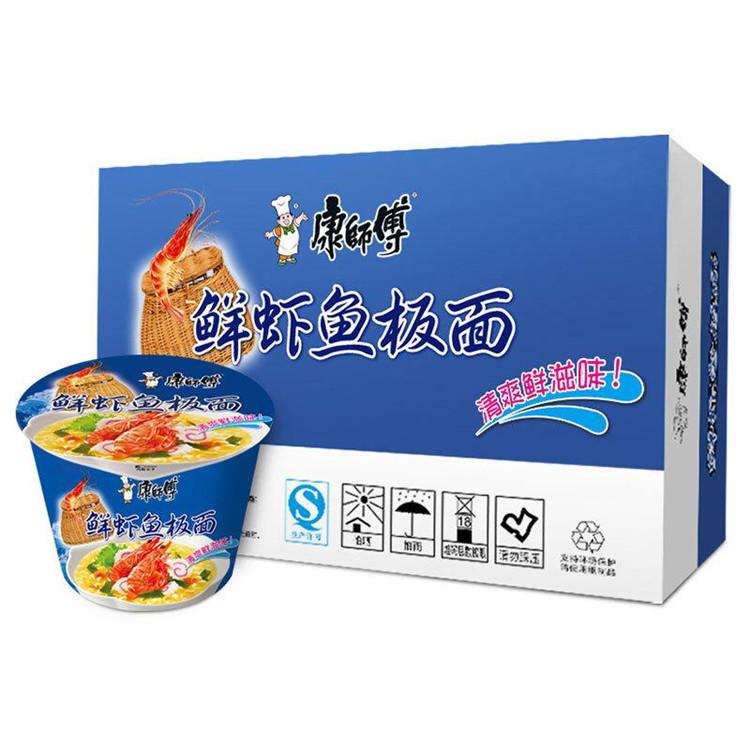 康师傅 经典系列鲜虾鱼板桶面 101g*12桶/箱 (单位:箱)