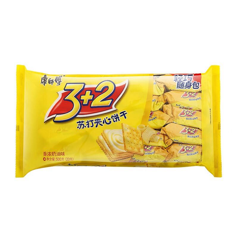 康师傅 3+2饼干苏打夹心分享包香浓奶油 500g*12包/箱 (单位:箱)