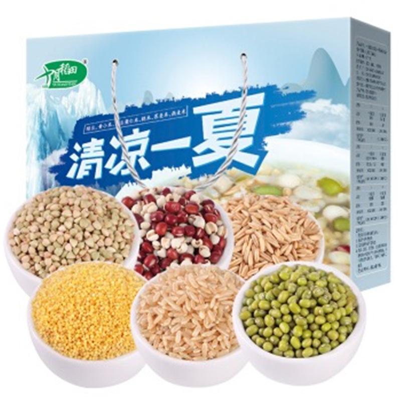 十月稻田 6种杂粮礼盒( 红豆薏仁、荞麦、绿豆、黄小米、燕麦、糙米 礼物400g*6)2.4kg(盒)