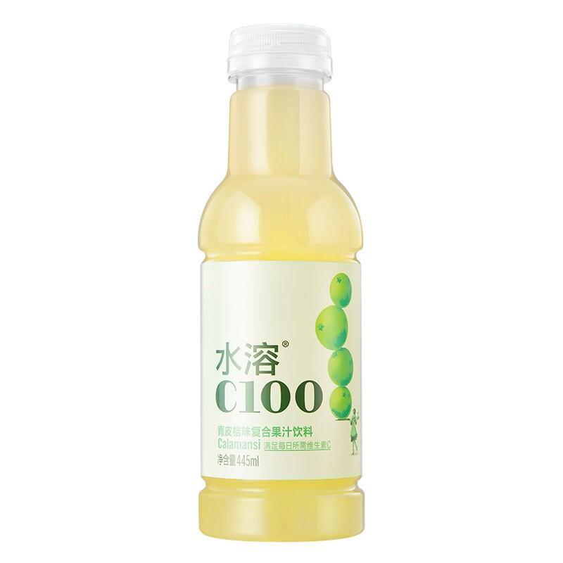 农夫山泉 水溶C100青皮桔味(果汁饮料) 445ml*15瓶/箱 (单位:箱)