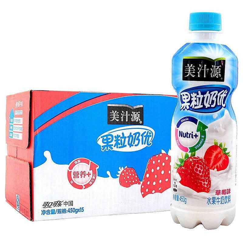 美汁源 果粒奶优草莓 450g*15瓶/箱 (单位:箱)