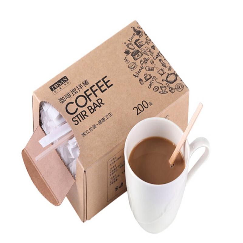 唐宗筷C6652一次性咖啡搅拌棒木质咖啡调棒 14cm 200支(盒)