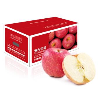 国产烟台红富士苹果一级铂金大果以上新鲜水果年货礼盒5kg单果230g(盒)
