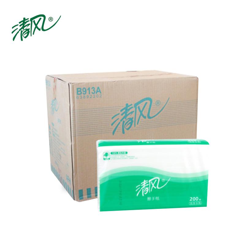 清风B913A檫手纸1层3折200抽225mm*230mm20包/箱(箱)