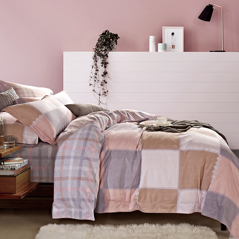 罗莱VAM6547-4全棉磨绒四件套-粉色佳人条格200x230cm(套)