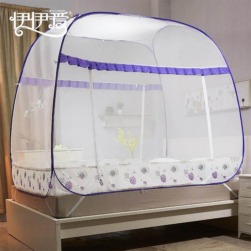 伊伊爱WZ-8FD-001铃兰雨系列全自动大方顶坐床蚊帐1.5M150*200cm(顶)