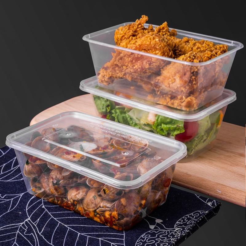 屋田WT-0645一次性饭盒打包盒长方形透明塑料快餐盒1000ml300套带盖外卖餐盒水果盒子便当保鲜盒(单位:箱)