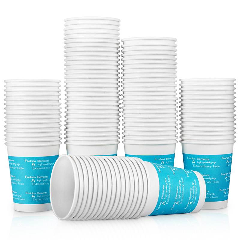 得力(deli)250ml(9盎司)加厚一次性水杯/纸杯 100只装 蓝色9561 (单位:包)