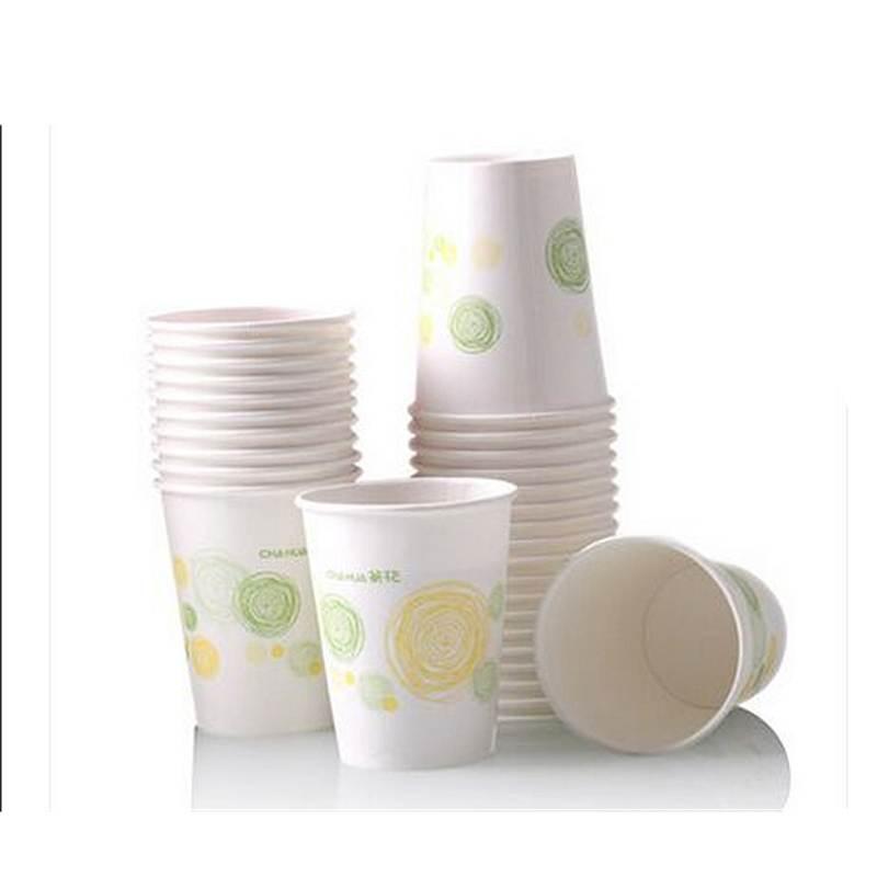 茶花3102-A中号淋膜纸杯(1*50)颜色随机/?7.3*8.8/225ML/40袋/箱(包)