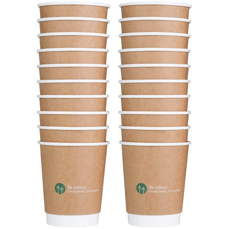 得力19204双层纸杯(棕)(20只/包)280ML240G五星纸+18GPE膜(单位:包)