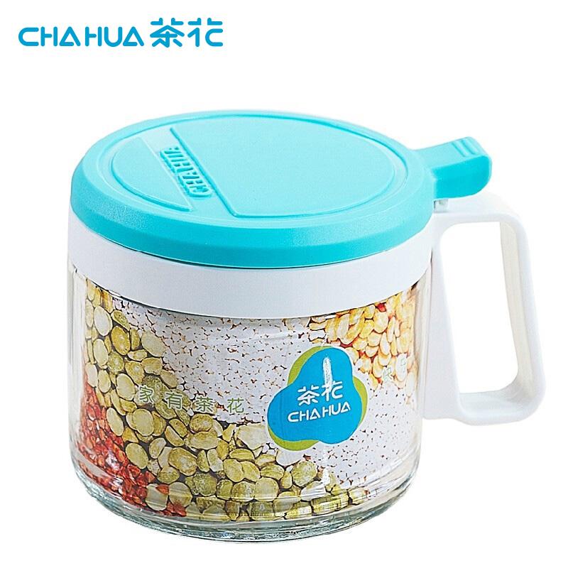 茶花6011圆形玻璃调味瓶随机色13.1*9.8*9.5cm450ML(个)