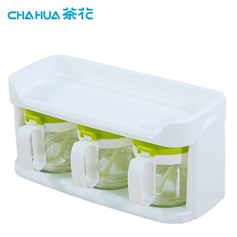 茶花6014三组玻璃调味瓶随机色28*14.5*14.2cm400ML(个)