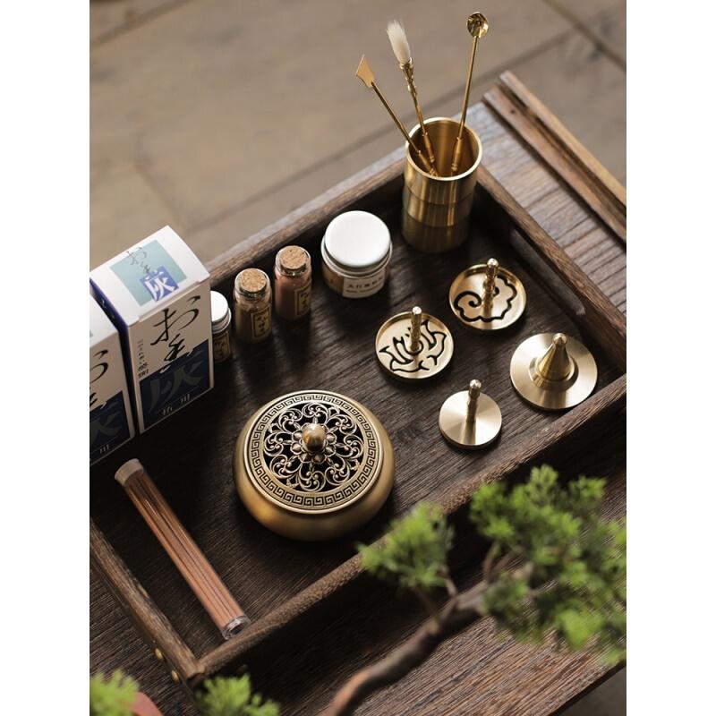 漆翼香道用具入门铜香篆套装简易款+蓝陶瓷炉(套)