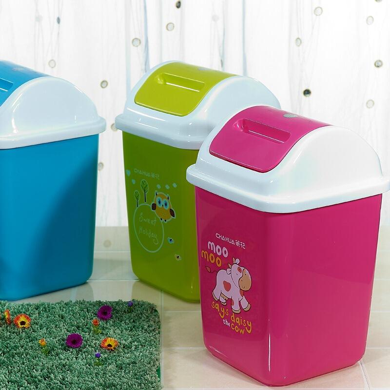 茶花1202中号房子垃圾桶19.0*18.4*29*5L颜色随机5L(个)