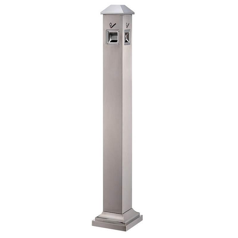 科力邦 不锈钢烟灰柱 户外立式收纳烟灰桶烟蒂柱 KB3233 沙钢斜头(个))