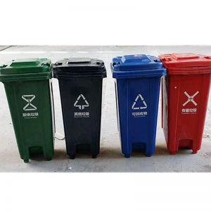 守候阳光 垃圾桶 PVC 120L 脚踏式 颜色随机(单位:个)