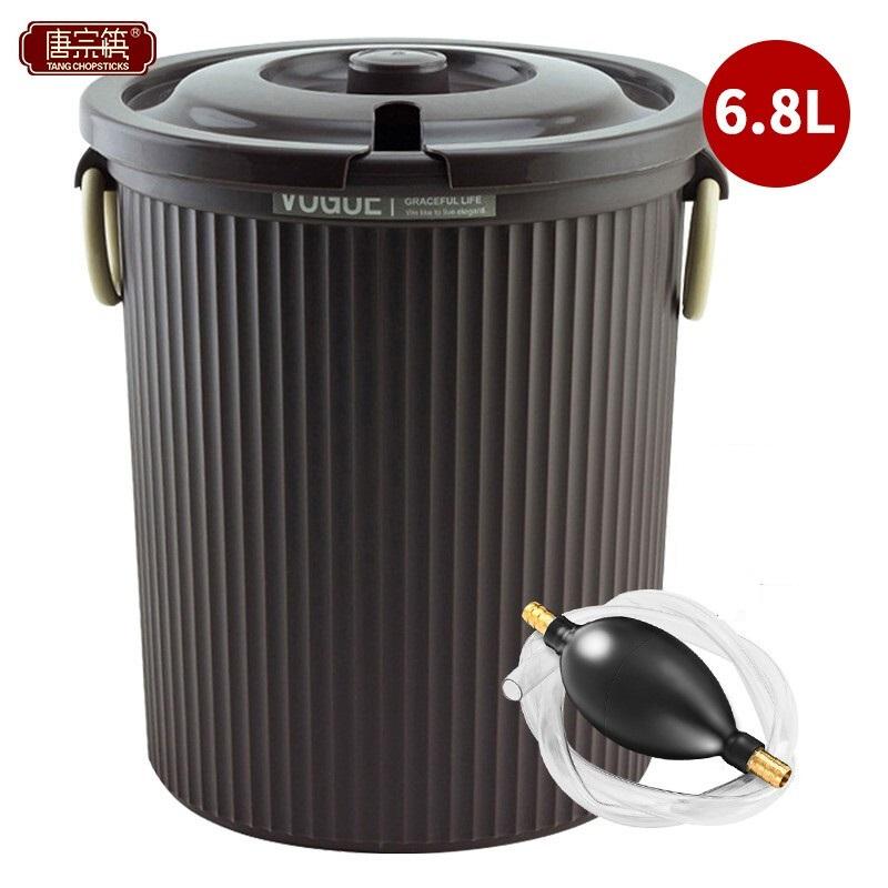 唐宗筷 C6593带盖茶渣桶 加厚塑料茶水桶 排水桶 茶叶垃圾桶 废水桶 滤茶桶 储茶桶 废茶桶 咖啡色 大号(个)
