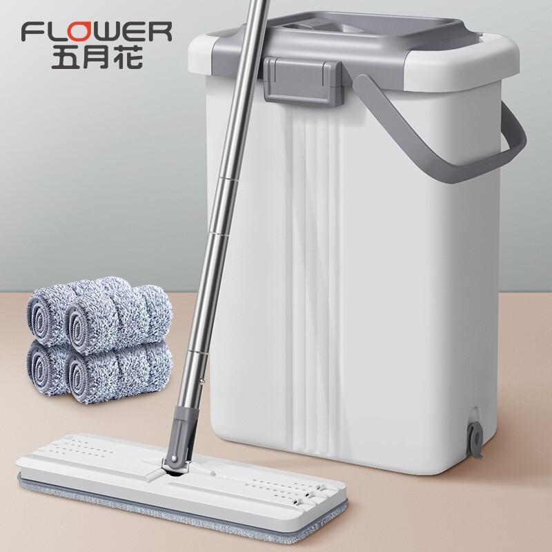 五月花PB12特大号刮刮乐免手洗平板拖把干湿两用拖布家用墩布4块配布(单位:把)