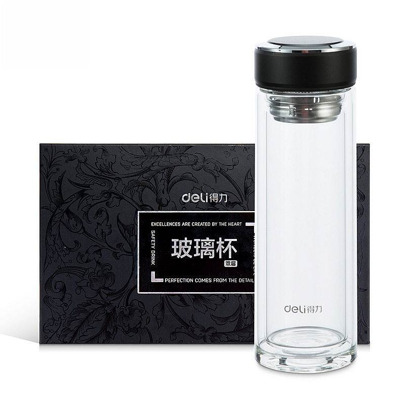 得力8978玻璃杯 水杯(黑)