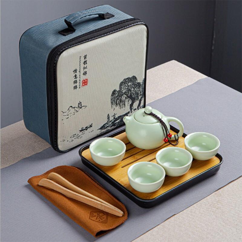 易铂旅行茶具套装一壶四杯 草绿色 六件套(套)