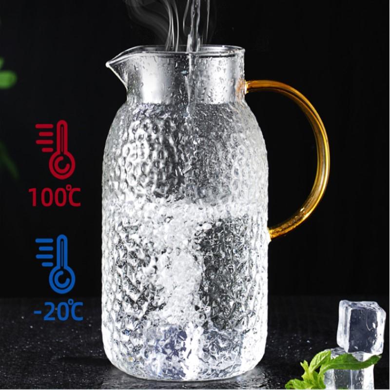 博采大容量家用办公果汁杯花茶杯子茶壶冷水壶圆形锤纹壶1200ML(个)