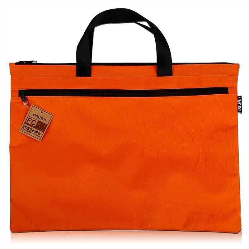 得力5840手提式双层收纳袋(橙)(只)