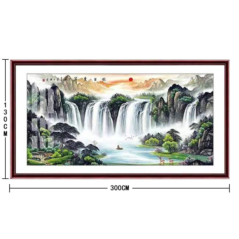 博采 定制客厅红木有机山水装饰画,尺寸300*130cm(单位:副)