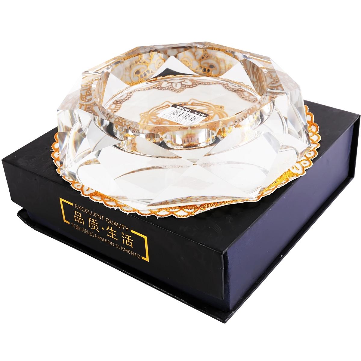 得力2702水晶烟灰缸 烟缸(透明)(个)