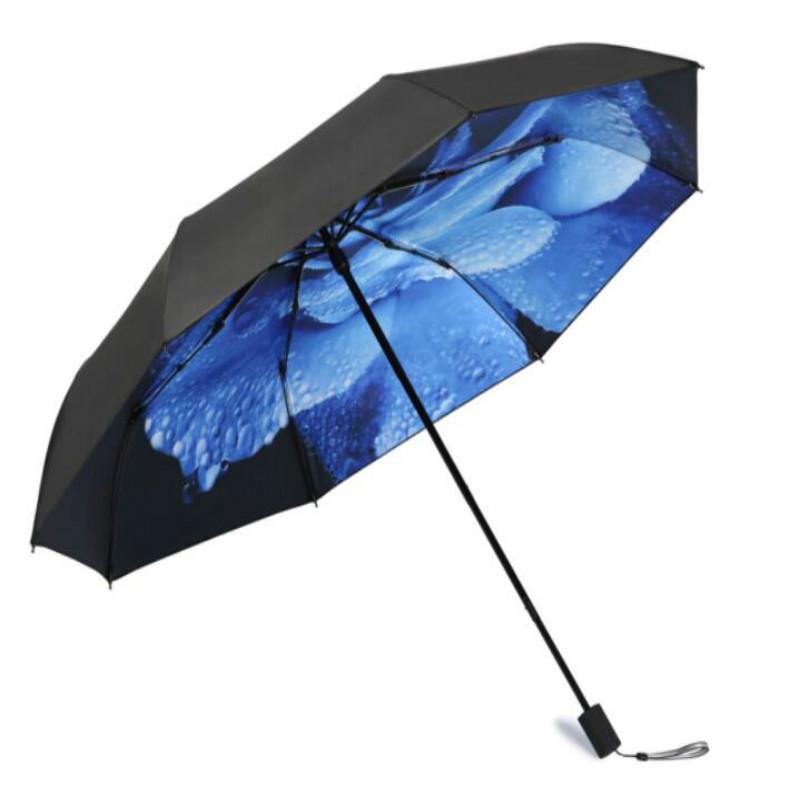 天堂 33537e 全遮光黑胶转印三折晴雨伞 (单位:把)