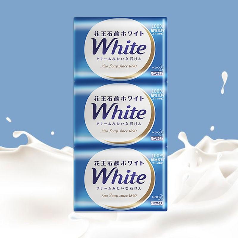 花王进口香皂white天然奶植物沐浴香皂,三块装(套)