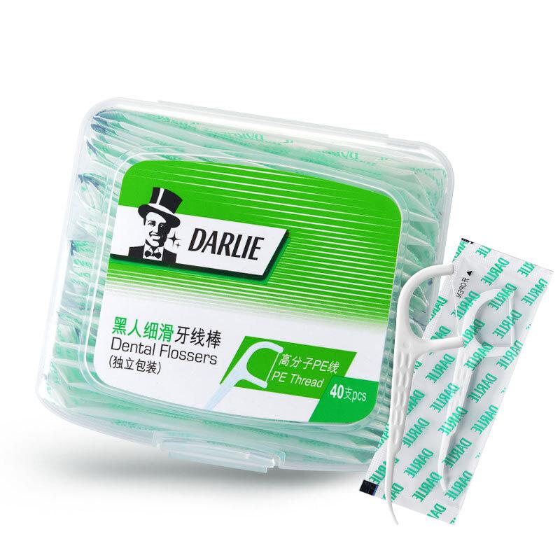 黑人40支独立包装牙线棒白色(盒)