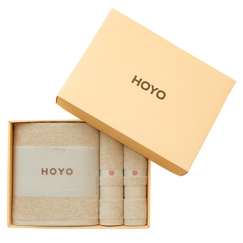 HOYO/3503臻品长绒棉毛浴3件套礼盒-浅咖毛巾32*72cm*2条/浴巾70*140cm(盒)