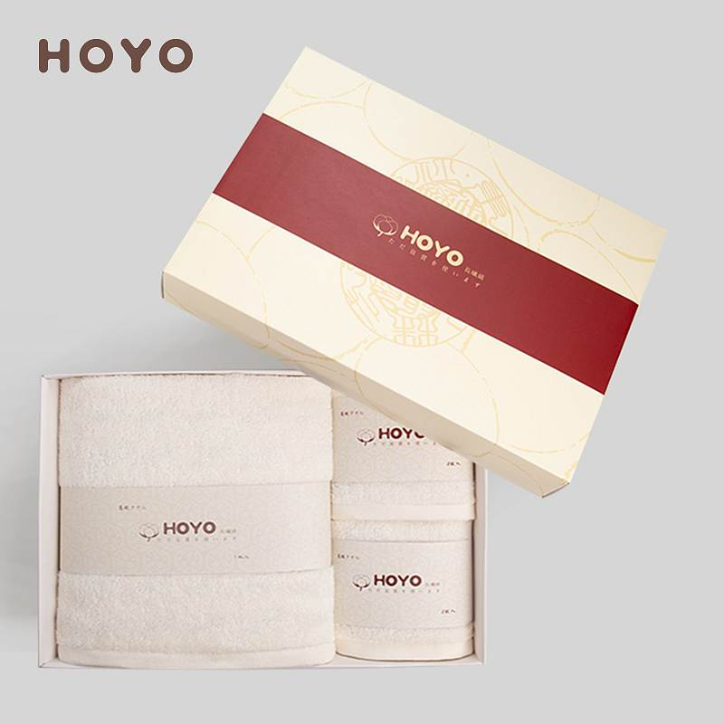 HOYO/3502臻品长绒棉毛浴3件套礼盒-乳白毛巾32*72cm*2条/浴巾70*140cm(盒)