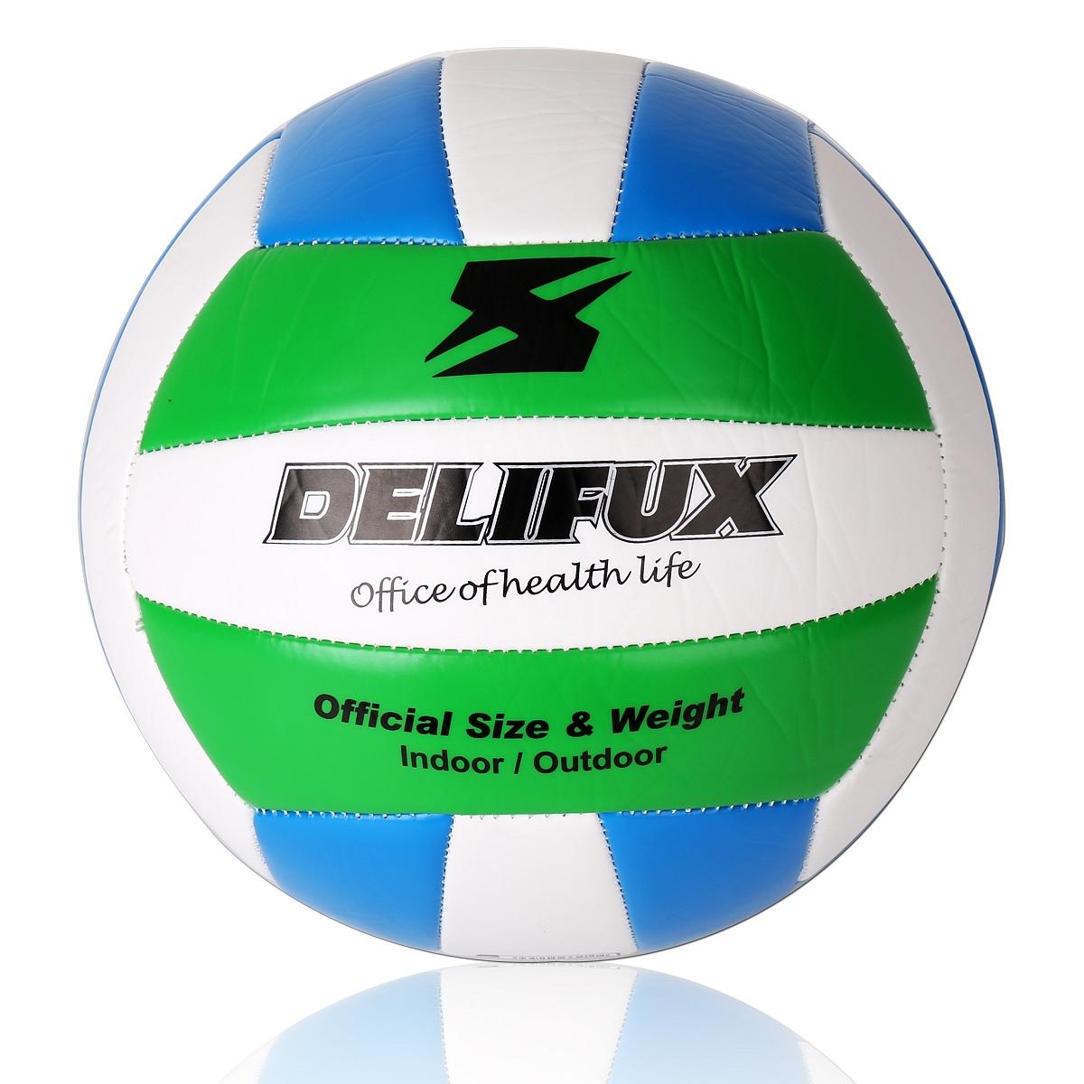 得力风行F1250TPU5号机缝排球 球类(白+蓝+绿)(个)