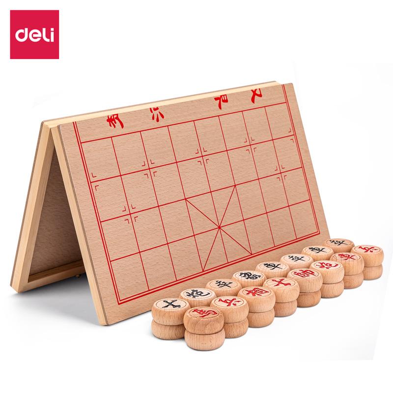 得力6749_50木连盘榉木中国象棋(原木色)(单位:盒)