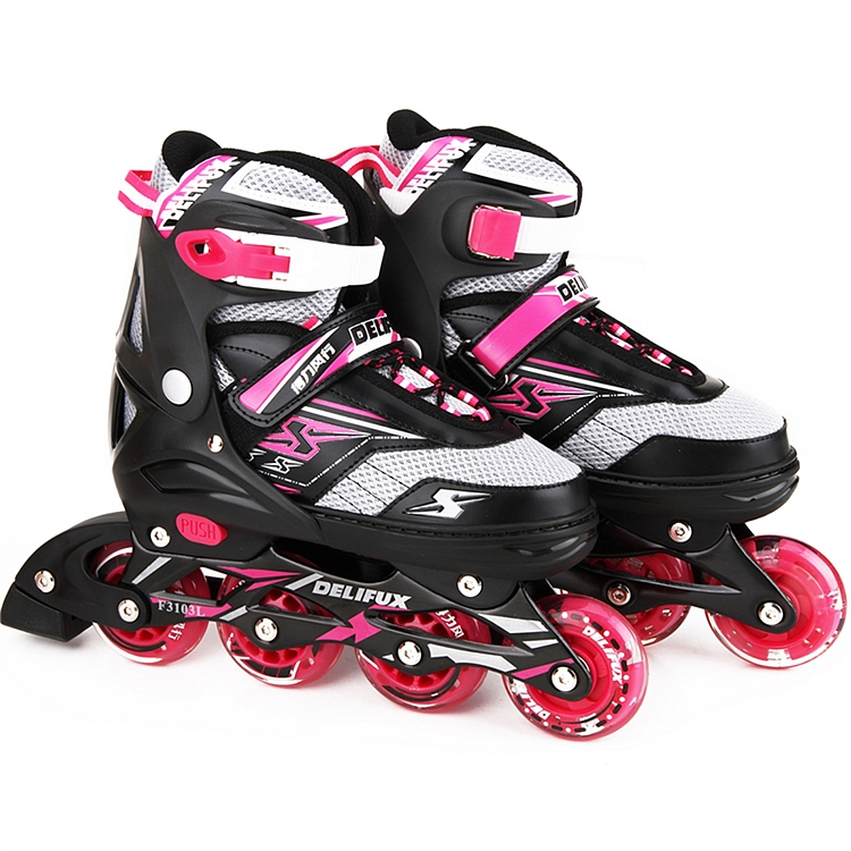 得力风行F3103L轮滑鞋 绝缘鞋(粉色)(双)