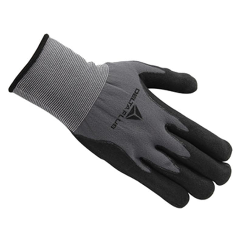 代尔塔201729丁腈发泡尼龙手套点塑防滑(VE727)灰色(双)