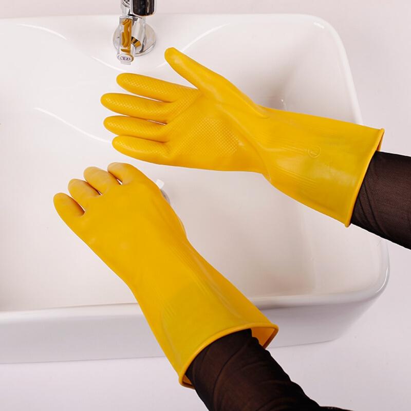 羊城工业乳胶手套黄色加厚牛筋/小号/中号/大号(双)