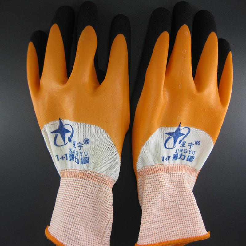 星宇 1+1弹力星桔红磨砂工业手套均码12双/包*25包/箱(单位:包)
