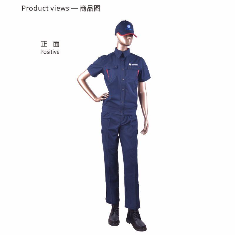 安大叔 CMCC-020女短袖防静电工作服套装藏青2XS-2XL (单位:件)