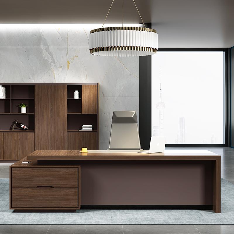 洛克菲勒LK-AD20100大班台经理桌2000*1600*750mm(单位:张)颜色:胡桃色