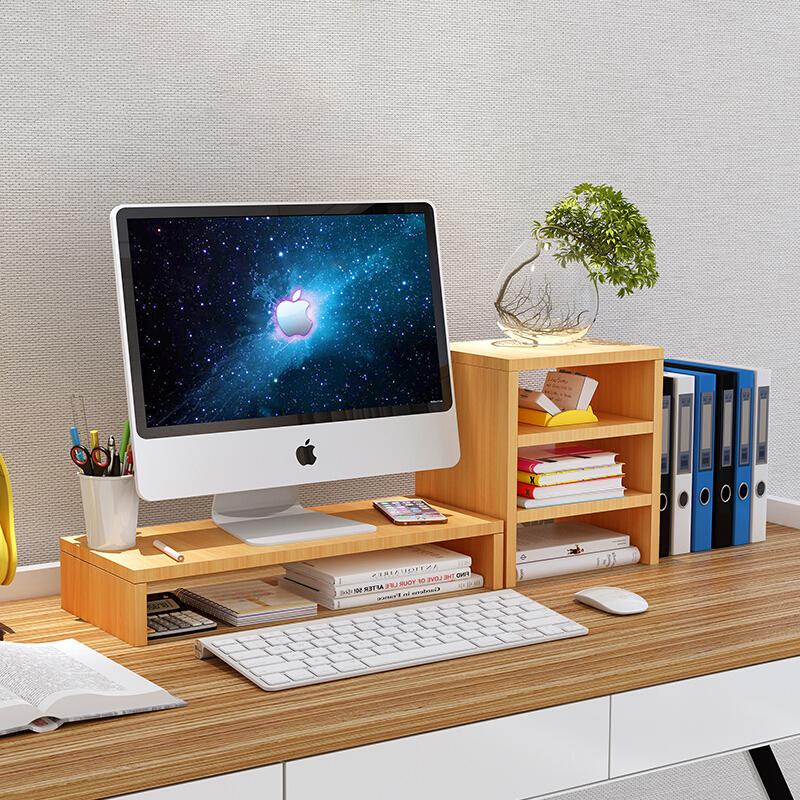 宏超电脑显示器台式桌面增高架双层白枫木0.5m*0.2m*0.13m(套)